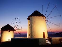 Windmills at Mykonos, Greece