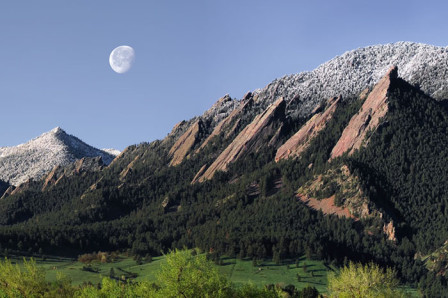 """Spring-Flatirons-Moonset"", view from Boulder, Colorado"