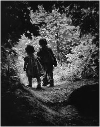 2 KIDS ON PATH-B&W