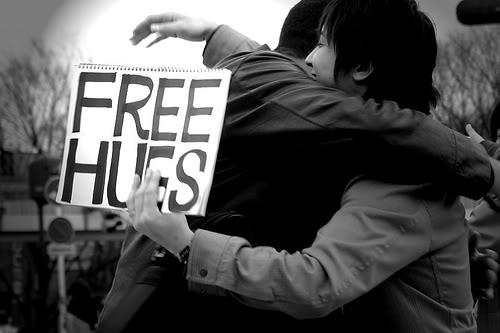 Free hugs B&W