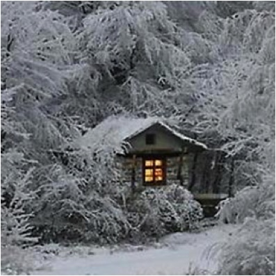 CABIN IN SNOWY WOODS