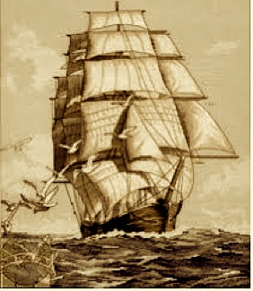CLIPPER SHIP SEPIA TONE